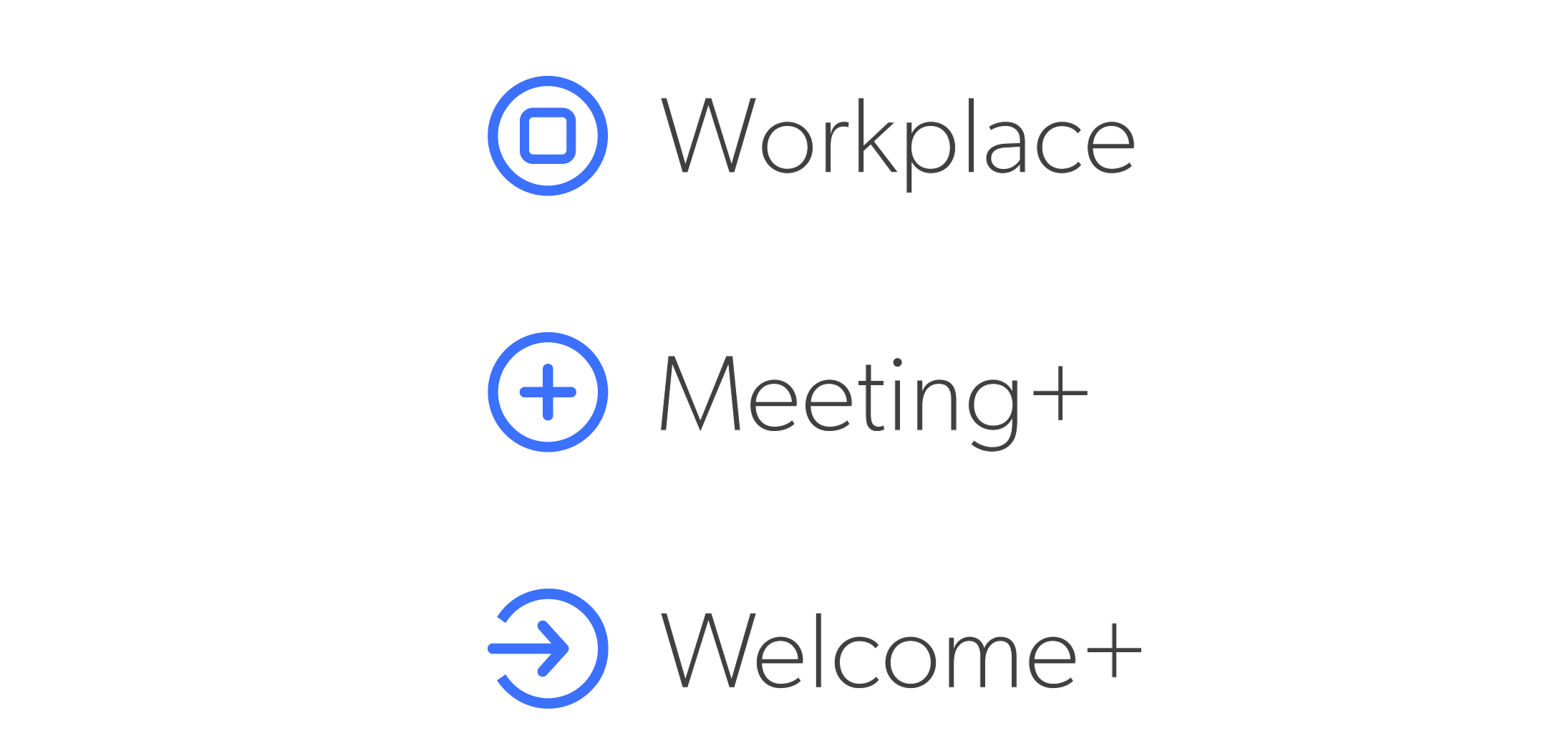 New icons for Workplace, Meeting+ and Welcome+